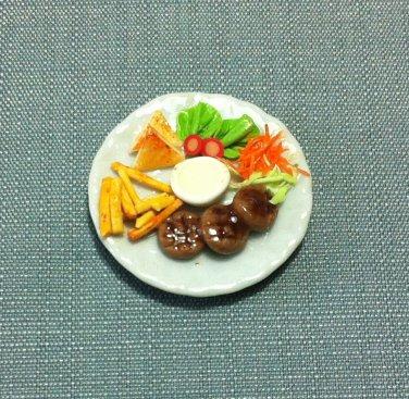 Steaks Fries Salad Plate Dish Food Meal Clay Fimo Ceramic Miniature Dollhouse Jewelry Decoration