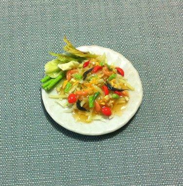 Papaya Salad Plate Dish Thai Asia Food Meal Clay Fimo Ceramic Miniature Dollhouse Jewelry Decoration