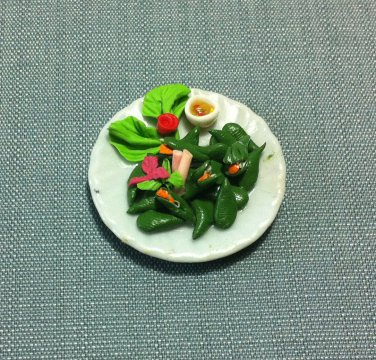 Mussels Seafood Plate Dish Food Meal Salad Clay Fimo Ceramic Miniature Dollhouse Jewelry Decoration