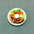 Salmon Steak Fries Plate Dish Food Meal Clay Fimo Ceramic Miniature Dollhouse Jewelry Decoration