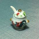 Soup Tureen Pot Jar Spoon Dish Kitchen Ceramic Miniature Dollhouse Decoration Jewelry Hand Painted