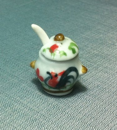 Soup Tureen Pot Jar Spoon Dish Kitchen Ceramic Miniature Dollhouse Decoration Jewelry Hand Painted