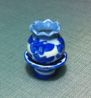 Flowers Pot Jar Vase Stand Display Tiny Ceramic Miniature Dollhouse Decoration Jewelry Hand Painted
