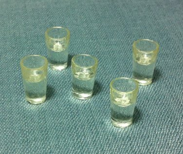 5 Cups Glasses Water Tiny Drinks Plastic Resin Miniature Dollhouse Decoration Jewelry Hand Made