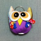 Funky Owl Bird Animal Purple Vintage Fabric Doll Funny Keyring Keychain Key Ring Key Chain Bag Car