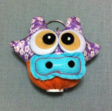 Funky Cow Bull Animal Purple Vintage Fabric Doll Funny Keyring Keychain Key Ring Key Chain Bag Car