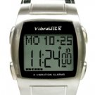 VibraLite 8 Vibrating Watch (Stainless Steel Case/Black Leather Band)