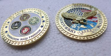 Challenge Coin Operation Iraqi Freedom 2009 3D Eagle