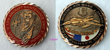 MISAWA AB JAPAN Challenge COIN tiger 13 air force base 35th fighter wing