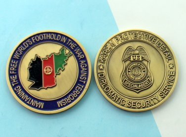 KARZAI PROTECTIVE DETAIL CHALLANGE COIN DEPARTMENT OF STATE DIPLOMATIC SECURITY