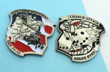 Challenge Coin Task Force Spearhead SNAKE EYES CHARLIE ATTACK helicopter