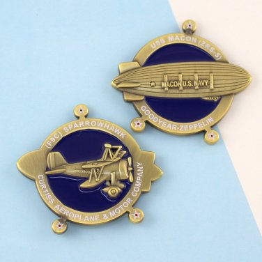 Challenge Coin USS Macon (ZRS-5) Curtiss F9C Sparrowhawk airship blimp Zeppelin