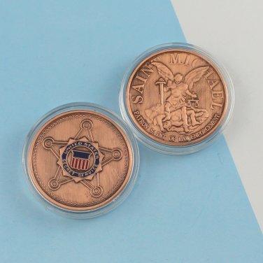 Challenge Coin USSS Secret Service SAINT MICHAEL copper PLATED 1 1/2 inch