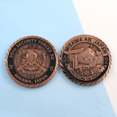 Challenge Coin Japan MISAWA AIR BASE COPPER finish 35th security forces BLEED