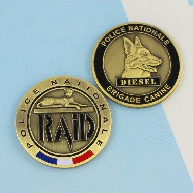 Challenge Coin police PARIS france K-9 DOG DIESEL