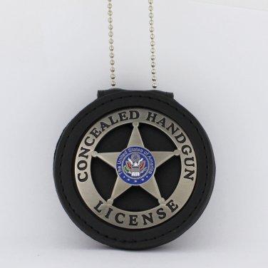 Concealed Handgun License Emblem Marshal Style Metal Badge & holder