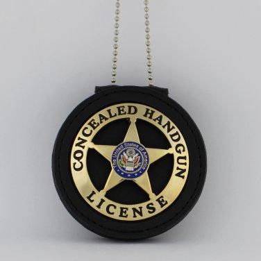 Concealed Handgun License Emblem Marshal Style Metal Badge & holder Gold