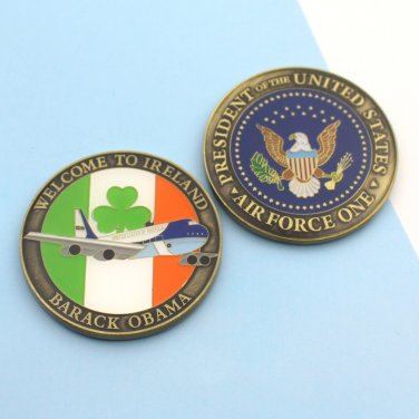 Challenge Coin Air Force One Barack Obama Welcome To Ireland Shamrock