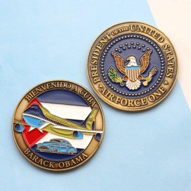 Challenge Medal Air Force One Cuba Visit Vintage Car Barack Obama Epoxy
