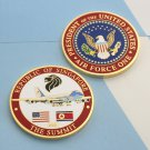 Challenge Coin Donald Trump Air Force One 1 The Summit Singapore DPRK