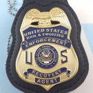 Bail & Fugitive Enforcement Recovery Agent Badge Metal 2 3/4 Inch Blue & Leather Holder