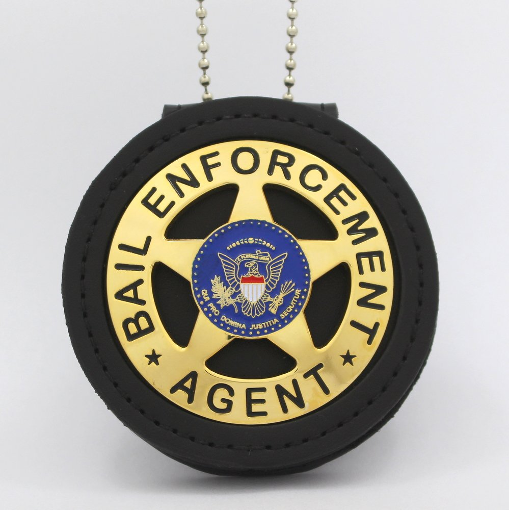 Bail Enforcement Agent Metal Badge 2 1/4 Inch & Holder