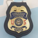 Concealed Carry Permit Handgun License Badge 2 3/4 Inch & Leather Holder