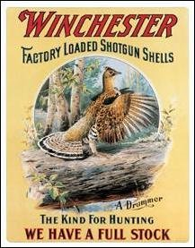 Winchester Drumming Grouse Tin Sign #1007