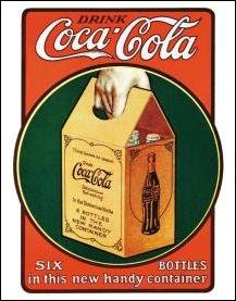Coke Handy Six Pack Tin Sign #1049