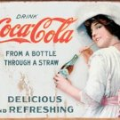 Coke Through A Straw Tin Sign #1473