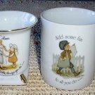 SWEET Holly Hobbie Vintage Mug with BONUS Gold Trim Vase!