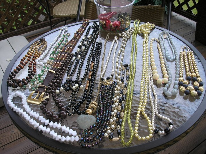 LOT OF COSTUME NECKLACES and BEADS - Hundreds of Beads for all of your craft needs!