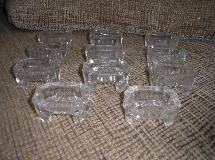 SET of 11 VINTAGE OCTAGON FOOTED SALT CELLARS!