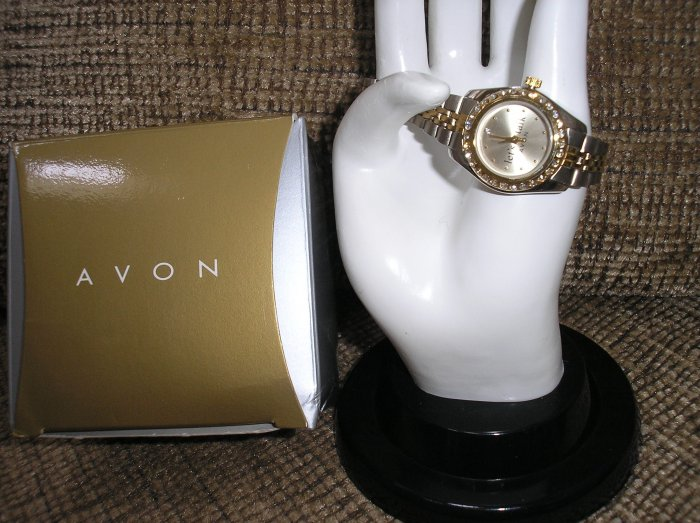 """AVON """"Let's Talk"""" Watch Silver/Gold tone with Rhinestones - BRAND NEW!"""