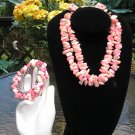 VINTAGE PINK Jewelry Set - Necklace, Bracelet AND Earrings - SUMMER PINKS!
