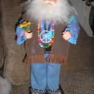 JERRY GARCIA DOLL-PSYCHEDELIC-DECKED OUT IN TIE DYE, PEACE SIGN, BEADS AND ALL-on a wooden stand!