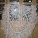 MAGNIFICENT HAND-CROCHETED TABLECLOTH-PINWHEEL/PINEAPPLE DESIGN-RAISED 3D GEOMETRIC BORDER DAZZLING!