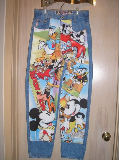 UNIQUE and RARE WALT DISNEY MICKEY MOUSE and FRIENDS JEANS by JOUJOU - SIZE 12!