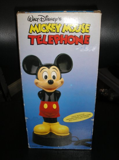 """1988 Walt Disney's 10"""" Mickey Mouse Statue Phone Telephone Vintage New In Box"""