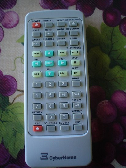 REMOTE CONTROL for a CYBERHOME DVR 1200 DVD RECORDER & PLAYER - BONUS MANUAL FOR DVD PLAYER!