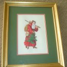 VICTORIAN SANTA with TREE FRAMED NEEDLEPOINT UNDER GLASS!