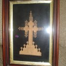 VICTORIAN PAPER LACE CUTWORK CROSS - FRAMED RELIGIOUS LAYERED PAPER WORK ART CRUCIFIX/CROSS - RARE!