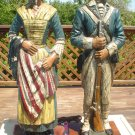 VINTAGE PAIR OF DUNNING CARVED RESIN TABLE LAMPS- REVOLUTIONARY WAR SOLDIER & BETSY ROSS- RARE!
