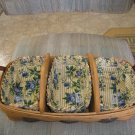 "LONGABERGER RETIRED 1990-2001 HEARTLAND BAKERY BASKET w/ DIVIDERS & ""ROSE TRELLIS"" LINERS-AUTHENTIC!"