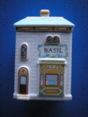 "LENOX SPICE VILLAGE ""BASIL"" PORCELAIN VICTORIAN HOUSE SPICE JAR!"