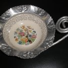 FARBER & SHLEVIN HAMMERED ROSE MOTIF ALUMINUM CANDY DISH with CHINA INSERT and COILED HANDLE!