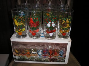 vintage 12 days of christmas glasses indiana glass still in box
