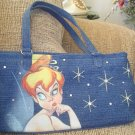 DISNEY STORE TINKERBELL DENIM PURSE for ADULT with RHINESTONES - NEW with TAG!