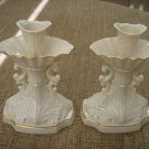 """LENOX CHINA AQUARIUS COLLECTION PATTERN PAIR OF 2 IVORY 6"""" CANDLESTICKS - EXQUISITE!"""