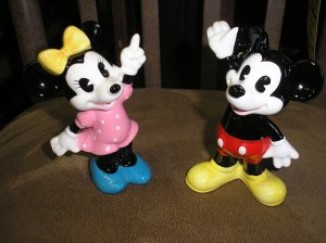 """VINTAGE DISNEY MICKEY & MINNIE MOUSE CERAMIC FIGURINES-STAMPED """"DISNEY""""&""""JAPAN""""-EXCELLENT COND-RARE!"""